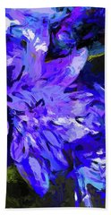 Flower Lavender Lilac Cobalt Blue Bath Towel