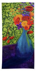 Hand Towel featuring the painting Flower Power by Nancy Jolley