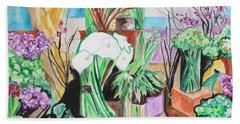 Bath Towel featuring the painting Flower Shop Fantasy by Esther Newman-Cohen