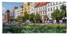 Bath Towel featuring the photograph Flowering Wenceslas Square In Prague by Jenny Rainbow
