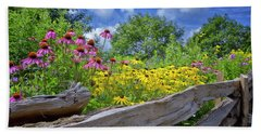 Flowers Along A Wooden Fence Bath Towel
