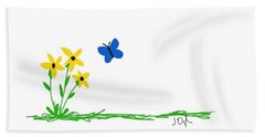 Hand Towel featuring the painting Flowers And A Butterfly by Joseph Ogle