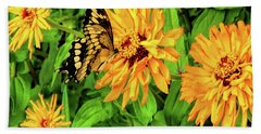 Flowers And Butterflies Hand Towel