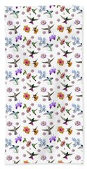 Bath Towel featuring the digital art Flowers And Hummingbirds 1 by Rachel Lee Young