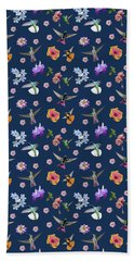 Bath Towel featuring the digital art Flowers And Hummingbirds 2 by Rachel Lee Young