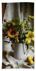 Flowers And Lemons Bath Towel