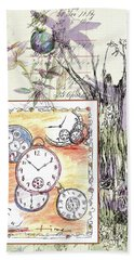 Hand Towel featuring the drawing Flowers And Time by Cathie Richardson