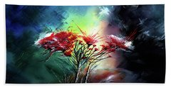 Bath Towel featuring the painting Flowers by Anil Nene
