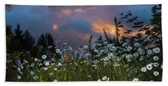 Flowers At Sunset Hand Towel