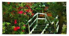 Flowers Bloom Alongside Magnolia Plantation Bridge - Charleston Sc Hand Towel
