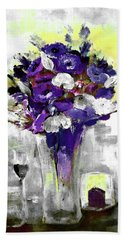 Flowers Chocolate Cake Wine For One Painting By Lisa Kaiser Bath Towel