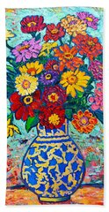 Flowers - Colorful Zinnias Bouquet Bath Towel