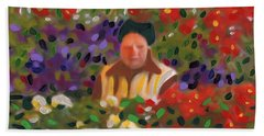 Bath Towel featuring the painting Flowers For Sale by Deborah Boyd