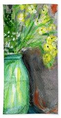 Flowers In A Green Jar- Art By Linda Woods Hand Towel