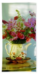 Flowers In A Teapot Hand Towel by Patricia Greer