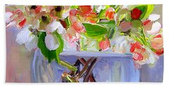 Flowers In Glass Bowl Hand Towel