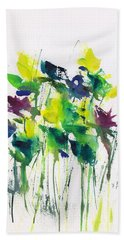 Flowers In Grass Abstract Bath Towel by Frank Bright