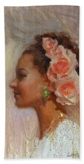 Pretty Flowers - Impressionistic Portrait Of Young Woman Hand Towel