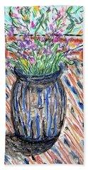 Flowers In Stripped Vase Bath Towel