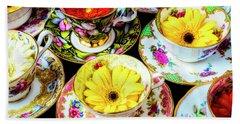 Flowers In Tea Cups Hand Towel