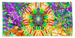 Hand Towel featuring the painting Flowers Mandala by Hidden Mountain