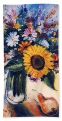 Hand Towel featuring the painting Flowers by Mikhail Zarovny