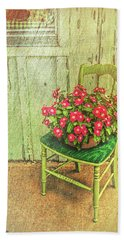 Flowers On Green Chair Bath Towel