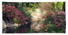 Flowers Over Pond Bath Towel