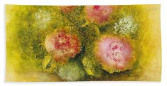 Bath Towel featuring the painting Flowers Pink by Marlene Book