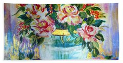 Hand Towel featuring the painting Flowers Still Life  by Roberto Gagliardi