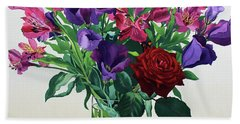 Flowers With Red Rose Bath Towel