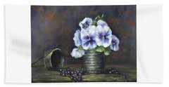 Hand Towel featuring the painting Flowers,pansies Still Life by Luczay