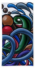Colorful Abstract Art Painting Chromatic Water Artwork Hand Towel