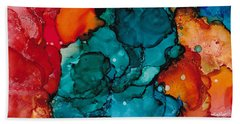 Bath Towel featuring the painting Fluid Depths Alcohol Ink Abstract by Nikki Marie Smith