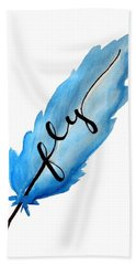 Fly Blue Feather Vertical Hand Towel