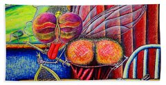 Hand Towel featuring the painting fly by Viktor Lazarev