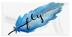 Fly Watercolor Feather Horizontal Bath Towel