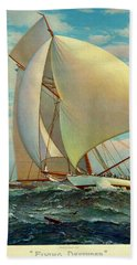Hand Towel featuring the photograph Flying Defender 1895 by Padre Art