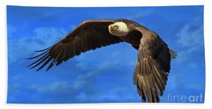Bath Towel featuring the photograph Flying Eagle by Geraldine DeBoer