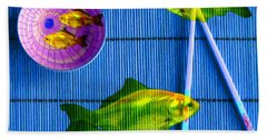 Flying Fish And The Pink Moon Bath Towel by LemonArt Photography