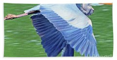 Flying Great Blue Heron Hand Towel
