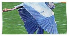 Flying Great Blue Heron Bath Towel