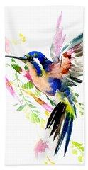 Flying Hummingbird Blue Peach Colors Bath Towel