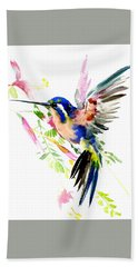 Flying Hummingbird Ltramarine Blue Peach Colors Hand Towel