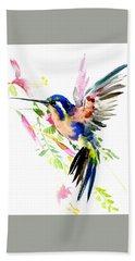 Flying Hummingbird Ltramarine Blue Peach Colors Bath Towel
