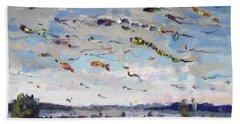 Flying Kites Over Gratwick Park Bath Towel