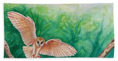 Flying Owl Hand Towel by Steed Edwards