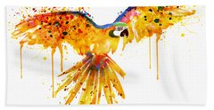 Flying Parrot Watercolor Bath Towel