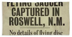 Flying Saucer Roswell Newspaper Bath Towel