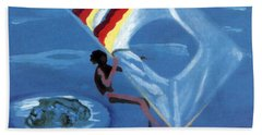Flying Windsurfer Bath Towel